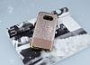 Samsung Galaxy S8 Simli Deri Rose Gold Silikon Kılıf - Resim 1