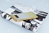 Samsung Galaxy S8 Simli Parlak Gold Silikon Kılıf - Resim 2
