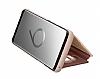 Samsung Galaxy S9 Orjinal Clear View Uyku Modlu Standlı Gold Kılıf - Resim 7
