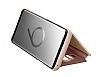 Samsung Galaxy S9 Plus Orjinal Clear View Uyku Modlu Standlı Gold Kılıf - Resim 7