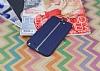 Samsung N7100 Galaxy Note 2 Kadife Dokulu Lacivert Silikon Kılıf - Resim 2