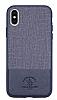 Santa Barbara Virtuoso iPhone X Deri Lacivert Rubber Kılıf - Resim 1