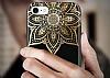 Shengo iPhone 6 Plus / 6S Plus Silikon Kenarlı Taşlı Çiçek Siyah Rubber Kılıf - Resim 4
