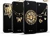 Shengo iPhone 6 Plus / 6S Plus Silikon Kenarlı Taşlı Çiçek Siyah Rubber Kılıf - Resim 8