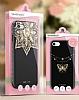 Shengo iPhone 6 Plus / 6S Plus Silikon Kenarlı Taşlı Çiçek Siyah Rubber Kılıf - Resim 9