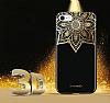 Shengo iPhone 6 Plus / 6S Plus Silikon Kenarlı Taşlı Çiçek Siyah Rubber Kılıf - Resim 2