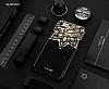Shengo iPhone 6 Plus / 6S Plus Silikon Kenarlı Taşlı Çiçek Siyah Rubber Kılıf - Resim 1