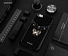 Shengo iPhone 7 Plus Silikon Kenarlı Taşlı Kelebek Siyah Rubber Kılıf - Resim 1