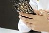 Shengo iPhone 7 Plus Silikon Kenarlı Taşlı Çiçek Siyah Rubber Kılıf - Resim 5