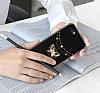 Shengo iPhone 7 Plus Silikon Kenarlı Taşlı Çiçek Siyah Rubber Kılıf - Resim 6