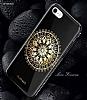Shengo iPhone 7 Plus Silikon Kenarlı Taşlı Çiçek Siyah Rubber Kılıf - Resim 1