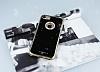 Shengo iPhone 7 Plus / 8 Plus Taşlı Gold Silikon Kılıf - Resim 1
