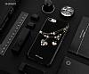 Shengo iPhone 7 Silikon Kenarlı Taşlı Kalp Siyah Rubber Kılıf - Resim 1