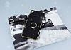 Sony Xperia XA Selfie Yüzüklü Simli Siyah Silikon Kılıf - Resim 1