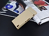 Sony Xperia XA1 Gizli Mıknatıslı Gold Deri Kılıf - Resim 1