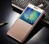 Sony Xperia XA1 Ultra Pencereli İnce Yan Kapaklı Gold Kılıf - Resim 1