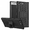 Sony Xperia XZ Premium Ultra Süper Koruma Standlı Siyah Kılıf - Resim 1