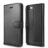 Spigen iPhone 6 Plus Orjinal Wallet Standl� Kapakl� Siyah Deri K�l�f