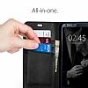 Spigen Wallet S LG G6 Standlı Kapaklı Siyah Deri Kılıf - Resim 6