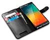 Spigen Wallet Samsung Galaxy Note 5 Standlı Kapaklı Siyah Deri Kılıf - Resim 4