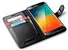 Spigen Wallet Samsung Galaxy S6 Edge Plus Standlı Kapaklı Siyah Deri Kılıf - Resim 3