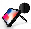 Dafoni Element Shield iPhone X / XS Standlı Ultra Koruma Deri Siyah Kılıf - Resim 1