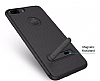 Totu Design iPhone 6 Plus / 6S Plus / 7 Plus Standlı Karbon Gold Silikon Kılıf - Resim 2