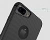 Totu Design iPhone 6 Plus / 6S Plus / 7 Plus Standlı Karbon Lacivert Silikon Kılıf - Resim 1