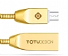 Totu Design Micro USB Gold Metal Data Kablosu 1m - Resim: 1