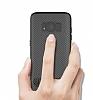 Totu Design Samsung Galaxy A5 2017 Standlı Karbon Siyah Rubber Kılıf - Resim 1