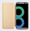 Totu Design Samsung Galaxy S8 İnce Yan Kapaklı Rose Gold Deri Kılıf - Resim 11