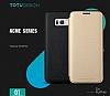 Totu Design Samsung Galaxy S8 Plus İnce Yan Kapaklı Gold Deri Kılıf - Resim 1
