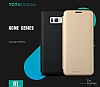 Totu Design Samsung Galaxy S8 Plus İnce Yan Kapaklı Siyah Deri Kılıf - Resim 1