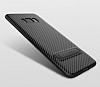 Totu Design Samsung Galaxy S8 Standlı Karbon Siyah Rubber Kılıf - Resim 1