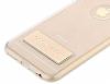 Totu Design Tpu Metal iPhone 6 / 6S Gold Standlı Şeffaf Silikon Kılıf - Resim 3