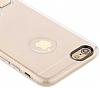 Totu Design Tpu Metal iPhone 6 / 6S Gold Standlı Şeffaf Silikon Kılıf - Resim 2
