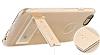 Totu Design Tpu Metal iPhone 6 / 6S Gold Standlı Şeffaf Silikon Kılıf - Resim 1