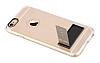 Totu Design Tpu Metal iPhone 6 / 6S Gold Standlı Şeffaf Silikon Kılıf - Resim 4