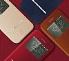 Baseus Terse iPhone 6 Plus / 6S Plus Manyetik Kapaklı Pencereli Bordo Deri Kılıf - Resim 2