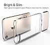 Usams Ease Series iPhone 7 Plus / 8 Plus Dark Silver Metal Şeffaf Silikon Kılıf - Resim 3