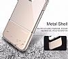 Usams Ease Series iPhone 7 Plus / 8 Plus Dark Silver Metal Şeffaf Silikon Kılıf - Resim 5