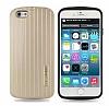 Eiroo Carier iPhone 6 / 6S Silikon Kenarlı Gold Rubber Kılıf - Resim 1
