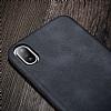 X-Level Vintage iPhone X / XS Deri Siyah Rubber Kılıf - Resim 1