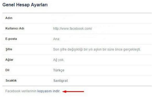 Facebook verilerini indir